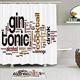 Juego de cortinas y tapetes de ducha de tela,Limón Jugo frío Gin Tonic Palabra Nube líquida Cóctel de hielo Rebanada d,cortinas de baño repelentes al agua con 12 ganchos, alfombras antideslizantes