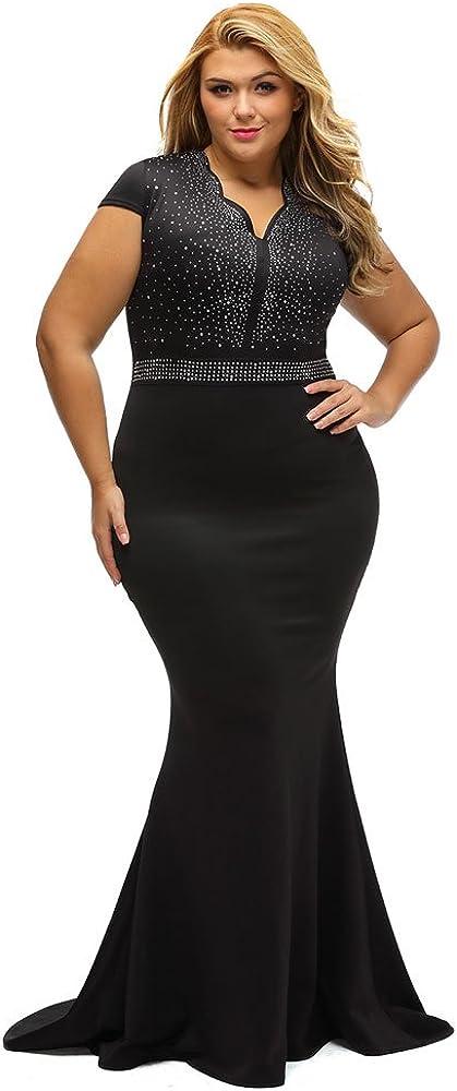 LALAGEN Women's New popularity Sale item Short Sleeve Rhinestone Long Size Cocktail Plus