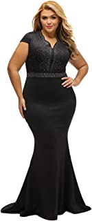 Women's Short Sleeve Rhinestone Plus Size Long Cocktail Evening Dress