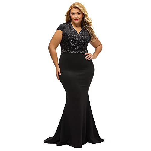 a81025d5fb6 Lalagen Women s Short Sleeve Rhinestone Plus Size Long Cocktail Evening  Dress