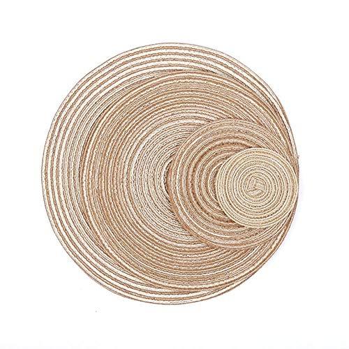 UKUCI 1pcTable Set de Table Coaster Coton Tissu Tricot Vaisselle Ronde Tapis Accessoires Café Tasse À Thé Pad Tapis Antidérapants Cuisine Outil, café, dia 30cm