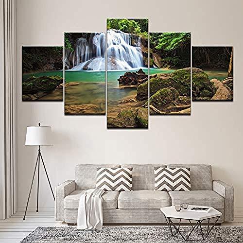 5 Gemälde Auf Leinwand Gemälde Auf Leinwand Landschaft Wasserfall Mit Crystalline Flow Wandkunst Modulare Malerei Tapeten Poster Print Home Decor Frameless - Fünfteilige Gemälde