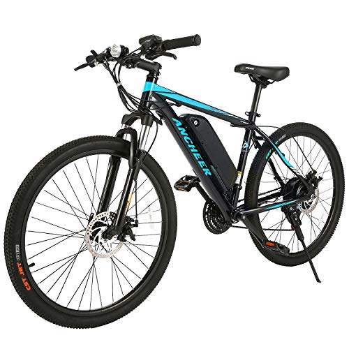 ANCHEER Electric Bike Electric Mountain Bike 350W Ebike 26'' Electric Bicycle, 20MPH Adults Ebike with Removable 7.8/10.4Ah Battery, Professional 21 Speed Gears