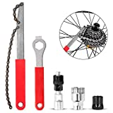 Odoland Bike Repair Tool Kit, Including Bike Crank Extractor with 16mm Spanner/Wrench, Bicycle Flywheel Chain Sprocket Remover Tool, Cassette Lock Ring Removal Tool