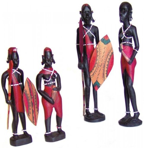 Unbekannt Massai - Pärchen, Afrika Holz-Skulptur, Höhe:30 cm