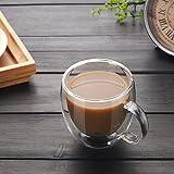 Keebgyy Juego de 2 tazas de café de cristal, vasos de café y té, tazas de vidrio aisladas de doble pared con mango grande, tazas transparentes cada 150 ml, para café y café