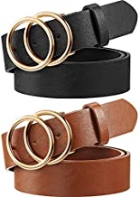 2 Pieces Women Leather Belt Faux Leather Waist Belts with Double O-Ring Buckle (Color Set 1, M)