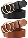 2 Pieces Women Leather Belt Faux Leather Waist Belts with Double O-Ring Buckle (Color Set 1, L)