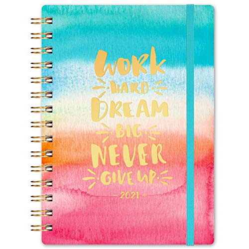 "2021 Planner - Weekly & Monthly Planner with Monthly Tabs, Jan 2021 - Dec 2021, 6.3"" x 8.4"", Flexible Floral Hardcover with Thick Paper, Elastic Closure & Inner Pocket"