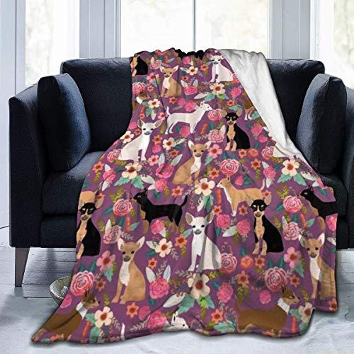 Linda manta de franela de felpa de 152 x 127 cm, diseño floral de raza de perro chihuahua, regalo perfecto para decoración de primavera sala de estar, manta de aire acondicionado y cómoda lavable