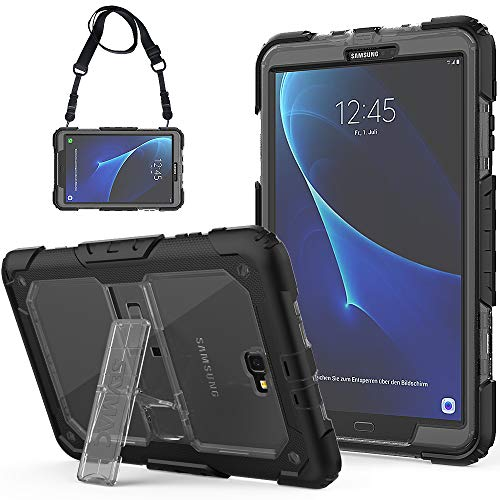 SEYMCY Galaxy Tab A 10.1 Case 2016 (SM-T580/SM-T581/SM-T585, NOT fit 2019 Model), Rugged Shockproof Drop Protection Strap Case with Stand for Samsung Galaxy Tab A6 10.1 2016/2018 Tablet [Black/Gray]