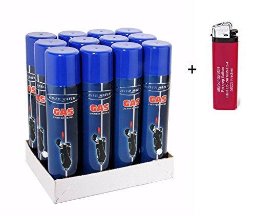 12x 300ml Universal -near zero impurities- Feuerzeuggas Nachfüllgas Feuerzeug (5,00 € p. 1 Liter) + 1 Feuerzeug