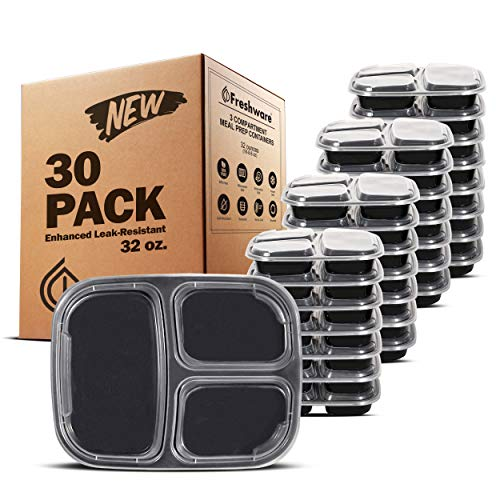 Freshware Meal Prep Containers [30 Pack] 3 Compartment with Lids, Food Storage Containers, Bento Box   BPA Free   Stackable   Microwave/Dishwasher/Freezer Safe, Portion Control, 21 Day Fix (32 oz)