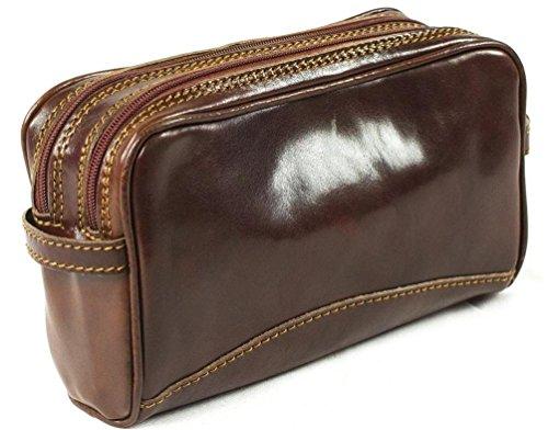 Pochette in vera pelle italiana, beauty case da viaggio con doppio scomparto, colore marrone