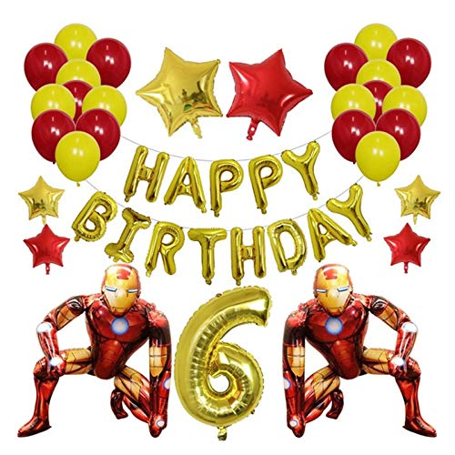 XINGYAO Balloon 42Pcs Spiderman Foil Balloon Number Super Hero Batman Iron Man Inflatable Ballon Birthday Party Decorations Kids Toys party (Color : Beige)