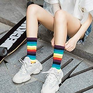 Socks Retro Personality Rainbow Striped Tube Socks Street Sports Stockings, Size:One Size(Black) (Color : Purple, Size : One Size)