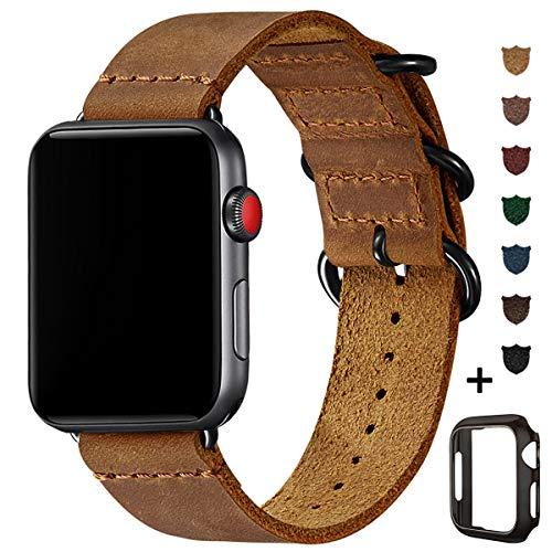 BesBand Retro Lederbänder Kompatibel mit Apple Watch Armband 42mm 44mm 38mm 40mm,Echtes Leder Vintage Armbänder Kompatibel für Männer Frauen iWatch Series5 Series4/3/2/1 (42mm 44mm, Hellbraun/Schwarz)