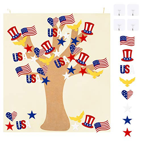 WATINC DIY Felt Patriotic Tree Craft Kit, Happy Independence Day Wall Hanging Decorations, 4th of...