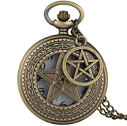 Reloj de bolsillo con diseño de estrella de cinco esquinas huecas, reloj de collar retro de bronce con cadena de suéter, relojes colgantes para hombres y mujeres