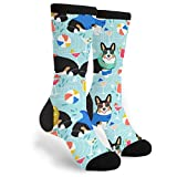 Pool Party Dogs Unisex Fun Cool 3D Print Colorful Sport Novelty Crew Tube Socks, Black and White, One Size