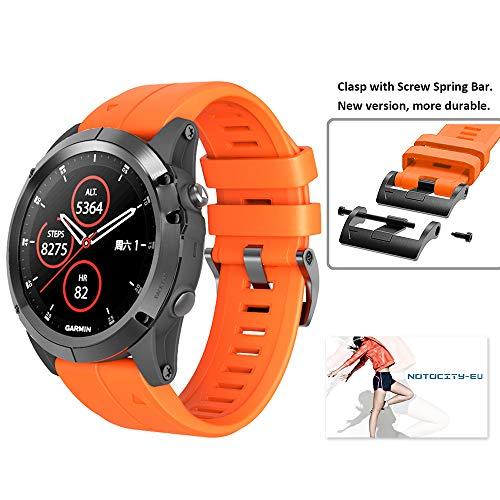 Notocity for Fenix 5X Band 26mm Width Soft Silicone Watch Strap for Fenix 5X Plus/Fenix 6X/Fenix 6X Pro/Fenix 3/Fenix 3 HR/Descent MK1/D2 Delta PX (Orange)