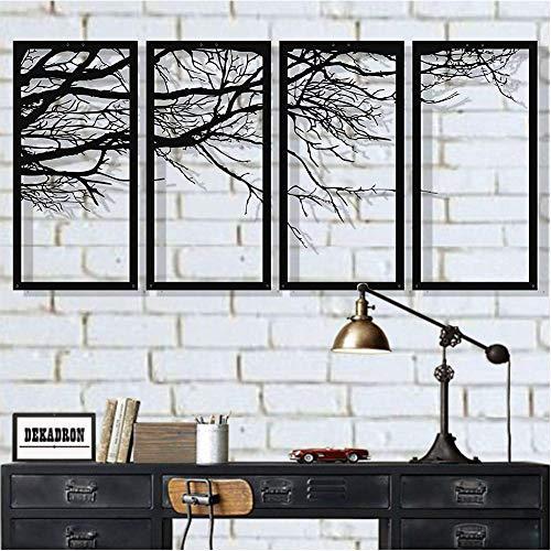 YLG Metall Wandkunst 4 Tafeln, 4 Bäume des Lebens, Metall Wanddekoration, Innendekoration, Einweihungsgeschenk, Metall Wandskulptur