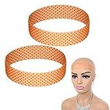 2 Pcs Silicone Wig Band Headband, Elastic Adjustable Wig Head Hair Band Sweatproof Seamless Unisex Soft Drop-shaped Hair Band (Orange)