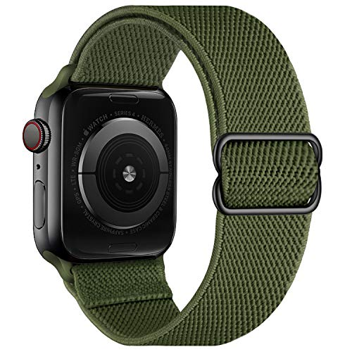 OXWALLEN Stretchy Nylon Solo Loop Compatible with Apple Watch Bands 42mm 44mm, Adjustable Elastic Braided Stretches Women Men Strap for iWatch SE Series 6/5/4/3/2/1,Military Green