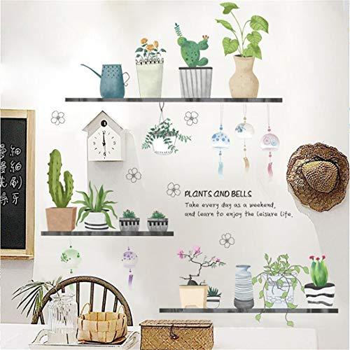 Wandtattoo, zelfklevend, verse plant, watermeloen, in pot, voor woonkamer, slaapkamer, hal, veranda, decoratie, zelfklevend