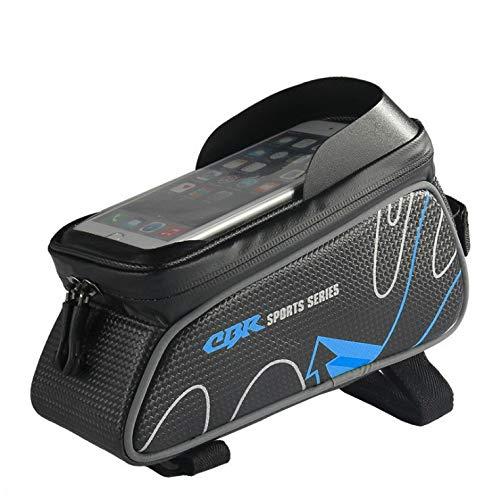 Portabicicletas bolsa impermeable estupendo bolso de la bicicleta grande Presión Capacidad de la bolsa de manillar TPU pantalla táctil, con sol visera y cubierta de la lluvia, conveniente for impermea