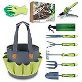 Hortem Gartenwerkzeug Set, Langlebige Gartengeräte mit Ergonomischem Griff und Löchern Zum Aufhängen, Große Gartentasche,...