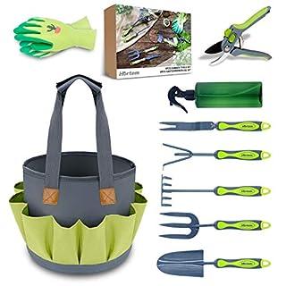 scheda hortem set di attrezzi da giardino da 9 pezzi, utensili manuali durevoli in acciaio al carbonio con impugnatura ergonomica e fori per appendere, regali da giardino perfetti per uomo donna