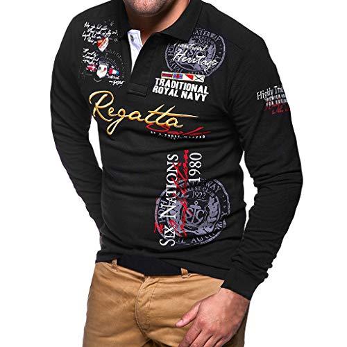 Celucke Herren Poloshirt Langarm Polo Polohemd Besticken Basic Shirt, T Shirts Männer Coole Print Langarmshirt Sweatshirt Slim Fit (Schwarz, L)