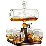 NBSXR Decanter Whisky con Nave Antica, con 4 Bicchieri per Mappa del Mondo incisi, distributore di Bevande per Brandy Tequila Bourbon Scotch Rum, Regali per papà
