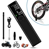 VEEAPE Portable Air Compressor Handheld Rechargeable Tire Inflator, Large LCD Display Electric Air Pump Kit with Pressure Gauge LED Light for Bicycle Motorcycle Tire Ball
