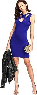 Blue Dress Caged Neck Bodycon Dress