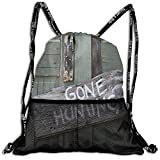 AZXGGV Drawstring Backpack Rucksack Shoulder Bags Gym Bag Sport Bag,Gone Hunting Written On Wooden Board Old Worn out Cottage Door Seasonal Hobby Fun