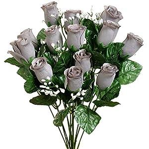 14″ Bouquet Rose Buds Bush Silk Wedding Artificial Flowers
