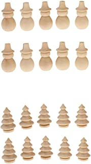 Prettyia 20pcs Wooden Snowman Xmas Tree Peg Dolls DIY Craft Christmas Decoration