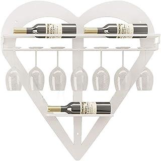 ZLJ Casier à vin Mural en métal en Forme de Coeur Porte-casier à vin avec Support de Verre à Tige-décoration de la Maison ...