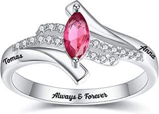 BONLAVIE Personalized Mother Rings for Women,Wife Custom Promise Ring for Her Mothers Ring Birthstone Rings Mother Day Ring,Name Rings, for Mom Engagement Rings for Women