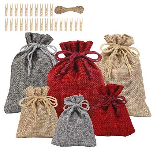 LANMOK Bolsas de Calendario de Adviento de Navidad 24 Piezas Bolsa Arpillera Navidad Bolsas de Dulces Navideñas con Cordón para Envolver Regalos Decoración del Chimenea árbol de Navidad