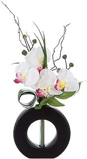 Atmosphera - Composition Florale Artificielle Orchidées dans Un Vase Noir en céramique H 44 cm