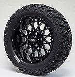 14' Venom Gloss Black Aluminum Wheels and 23x10-14 All Terrain Golf Cart Tires Combo - Set of 4