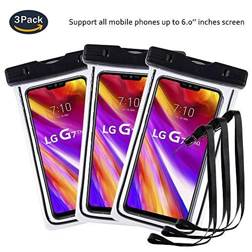 pinlu® 3 Pack IPX8 Wasserdichte Tasche, für Smartphones bis 6 Zoll, für JIAYU S3, Kazam Tornado (348), NOMU S20, Vkworld Mix, Vkworld VK700X, sandproof Protective Shell -Schwarz+Schwarz+Schwarz