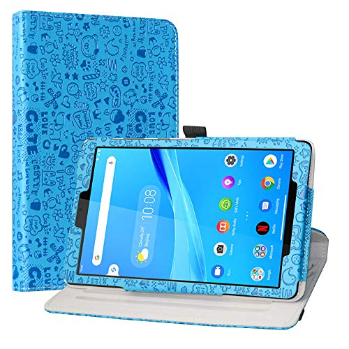 LiuShan Compatible with Lenovo Tab M8 FHD Rotating Case,360 Degree Rotation Stand PU Leather With Cute Pattern for 8' Lenovo Tab M8 FHD (2nd Gen) TB-8705F Tablet(Not Fit Lenovo Tab M8 HD(2nd Gen),Blue