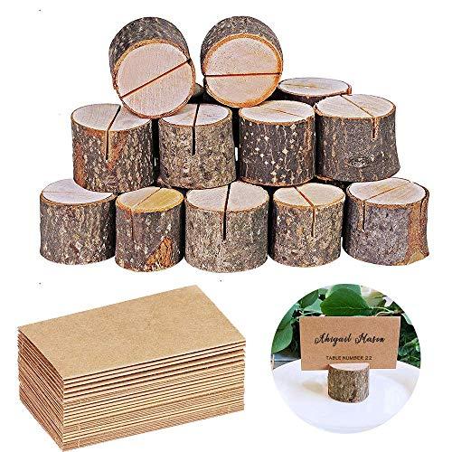 Tarjeteros de madera rústica, 10 soportes para números de mesa rústicos de primera calidad y 10 tarjetas de papel kraft para mesa, soportes de madera para fotos, ideales para el nombre de la mesa de