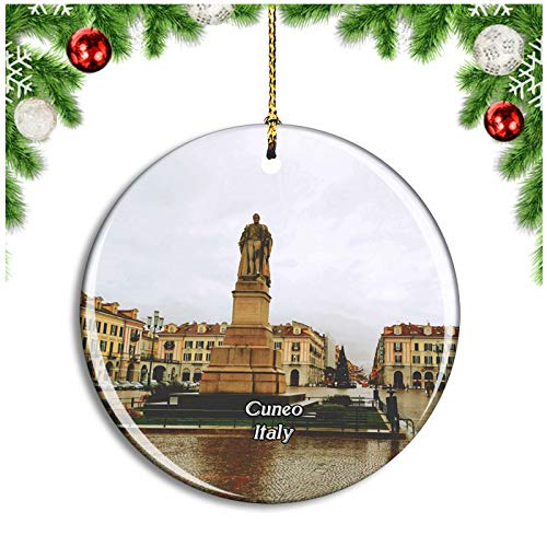 Weekino Cuneo Italy Piazza Galimberti Christmas Ornament Xmas Tree Decoration Hanging Pendant Travel Souvenir Collection Double Sided Porcelain 2.85 Inch