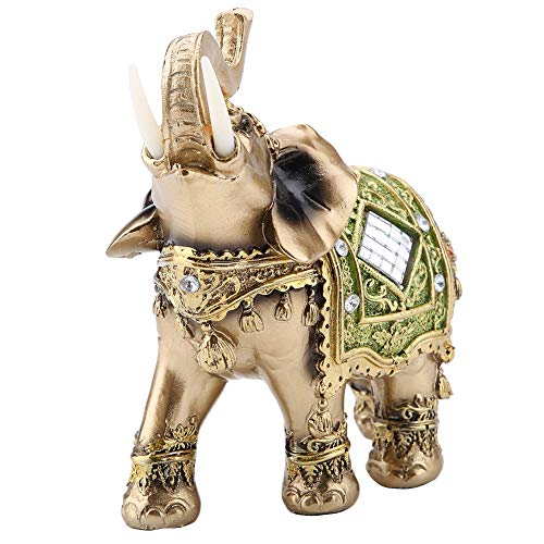 Lucky Feng Shui Green Elephant Statue Sculpture Wealth Figurine Gift Home Decoration (Green Large)