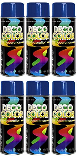 Fahrzeugteile Hoffmann 6er Sparpack DC Lackspray glänzend 400ml nach RAL freie Farbauswahl (6 Dosen in dunkelblau Glanz RAL 5010)